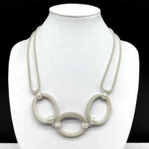 Monet Silver Tone Mesh Oval Chain Link Necklace